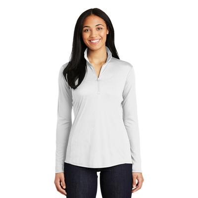 LADIES POSICHARGE COMPETITOR QTR ZIP WHITE
