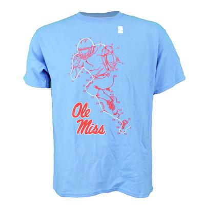 OLE MISS YOUTH CONNECT THE DOTS FOOTBALL PLAYER SS TEE