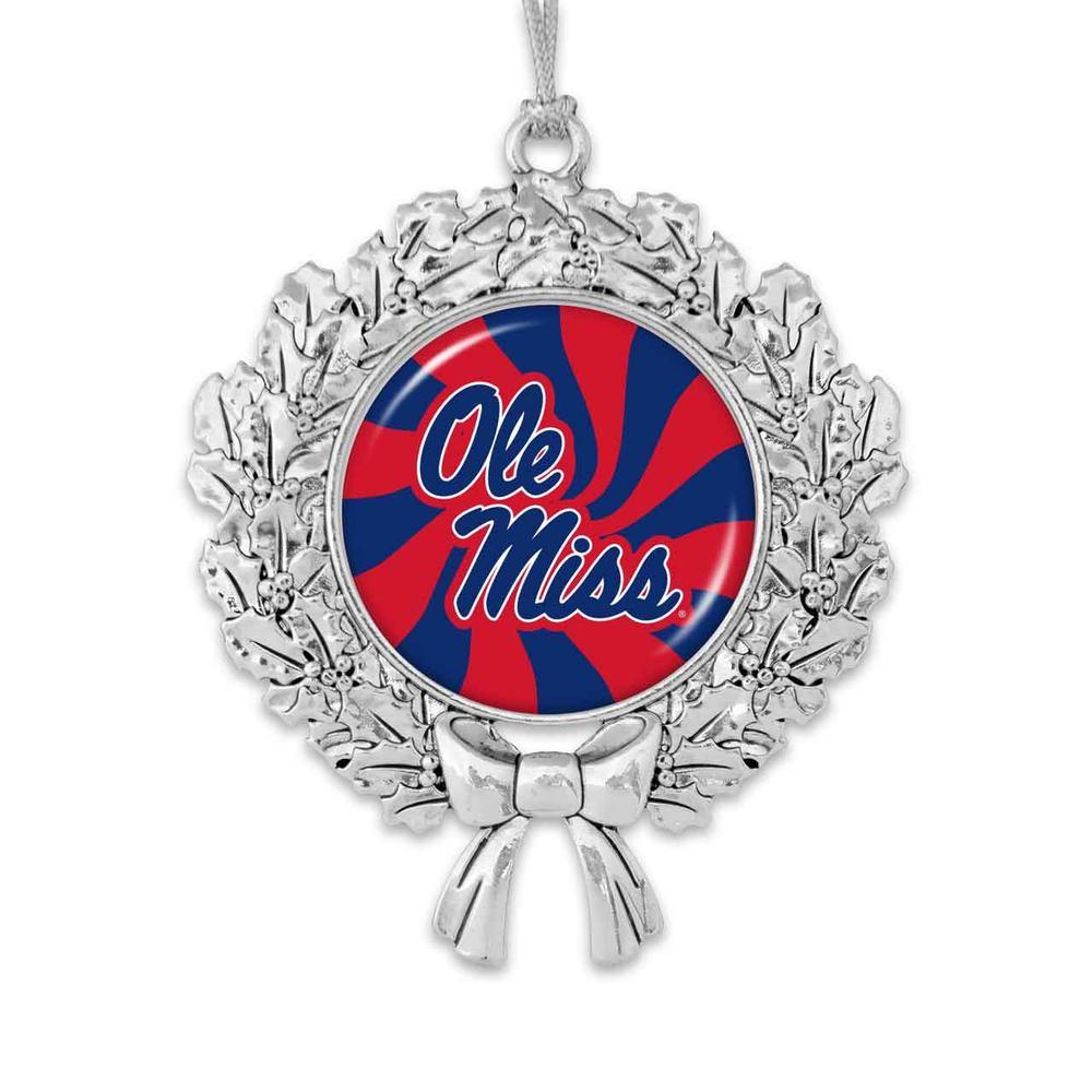 Ole Miss Peppermint Twist Wreath Ornament
