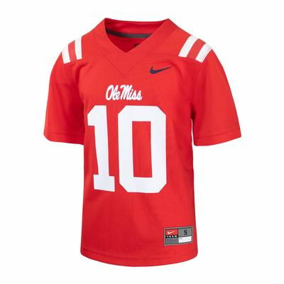 YOUTH OLE MISS NO 10 FOOTBALL JERSEY