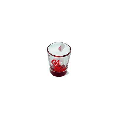 OLE MISS 1.5 OZ RED BOTTOM SHOT GLASS