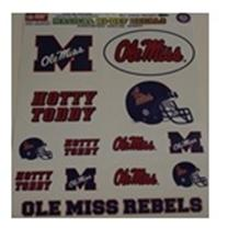 SHEET OF OLE MISS DECALS
