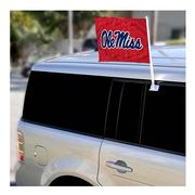 RED 2-SIDED OLE MISS CAR FLAG