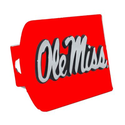 COLORED OLE MISS HITCH COVER RED