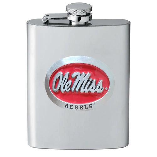 Red Enamel Ole Miss Pewter Flask