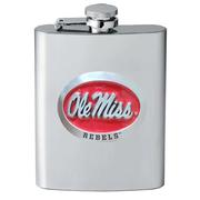 RED ENAMEL OLE MISS PEWTER FLASK