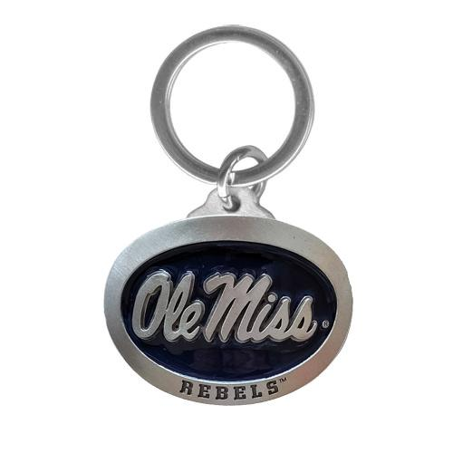 Ole Miss Blue Pewter Keychain