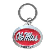 OLE MISS RED ENAMEL PEWTER KEY