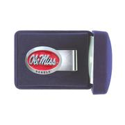 RED ENAMEL OLE MISS PEWTER MON