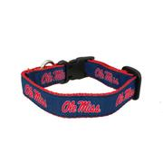 OLE MISS DOG COLLAR  NAVY SM