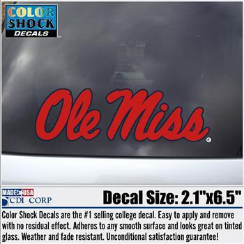 Red Ole Miss Script Decal