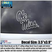 WHITE OUTLINED OLE MISS CAR DE