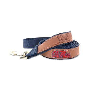 LEATHER OLE MISS LEAD  TAN 4FT