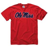TRICOLOR SCRIPT OLE MISS TEE RED
