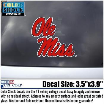 Red White Ole Miss Script Decal