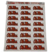 SHEET OF 24 SCRIPT OLE MISS STICKERS